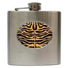 Skin2 Black Marble & Orange Colored Pencil Hip Flask (6 Oz) by trendistuff