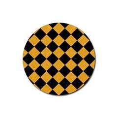 Square2 Black Marble & Orange Colored Pencil Rubber Coaster (round)  by trendistuff