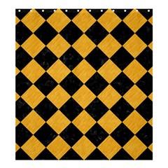 Square2 Black Marble & Orange Colored Pencil Shower Curtain 66  X 72  (large)  by trendistuff