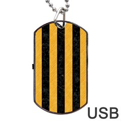 Stripes1 Black Marble & Orange Colored Pencil Dog Tag Usb Flash (two Sides) by trendistuff