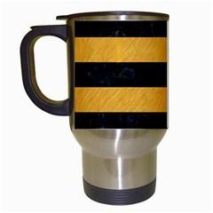 Stripes2 Black Marble & Orange Colored Pencil Travel Mugs (white) by trendistuff