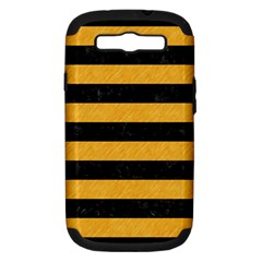 Stripes2 Black Marble & Orange Colored Pencil Samsung Galaxy S Iii Hardshell Case (pc+silicone) by trendistuff