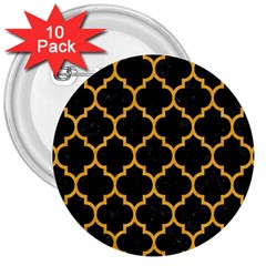 Tile1 Black Marble & Orange Colored Pencil 3  Buttons (10 Pack)  by trendistuff
