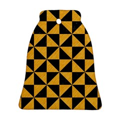 Triangle1 Black Marble & Orange Colored Pencil Bell Ornament (two Sides) by trendistuff