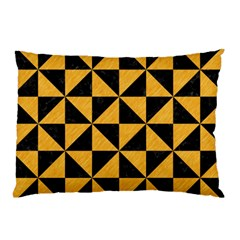 Triangle1 Black Marble & Orange Colored Pencil Pillow Case (two Sides) by trendistuff