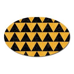 Triangle2 Black Marble & Orange Colored Pencil Oval Magnet by trendistuff