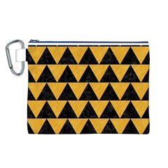 Triangle2 Black Marble & Orange Colored Pencil Canvas Cosmetic Bag (l) by trendistuff