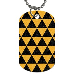 Triangle3 Black Marble & Orange Colored Pencil Dog Tag (two Sides) by trendistuff
