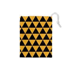 Triangle3 Black Marble & Orange Colored Pencil Drawstring Pouches (small)  by trendistuff