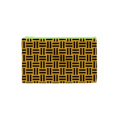 Woven1 Black Marble & Orange Colored Pencil (r) Cosmetic Bag (xs) by trendistuff