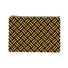 Woven2 Black Marble & Orange Colored Pencil Cosmetic Bag (large)  by trendistuff