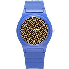 Woven2 Black Marble & Orange Colored Pencil Round Plastic Sport Watch (s) by trendistuff