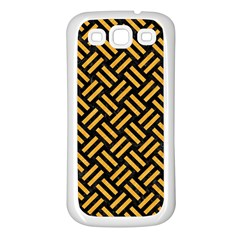 Woven2 Black Marble & Orange Colored Pencil Samsung Galaxy S3 Back Case (white) by trendistuff
