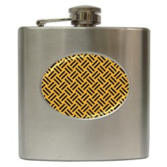 Woven2 Black Marble & Orange Colored Pencil (r) Hip Flask (6 Oz) by trendistuff