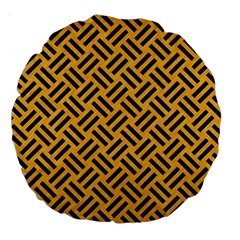 Woven2 Black Marble & Orange Colored Pencil (r) Large 18  Premium Round Cushions by trendistuff