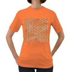 Brick2 Black Marble & Orange Watercolor Women s Dark T Shirt by trendistuff