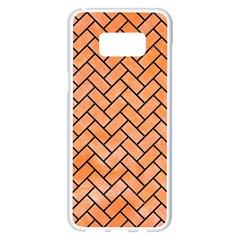 Brick2 Black Marble & Orange Watercolor Samsung Galaxy S8 Plus White Seamless Case by trendistuff