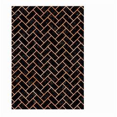 Brick2 Black Marble & Orange Watercolor (r) Large Garden Flag (two Sides) by trendistuff