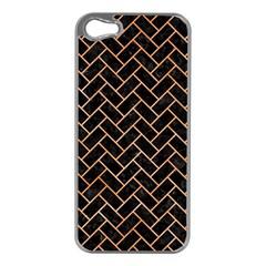 Brick2 Black Marble & Orange Watercolor (r) Apple Iphone 5 Case (silver) by trendistuff