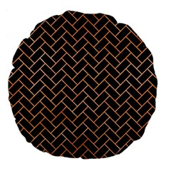 Brick2 Black Marble & Orange Watercolor (r) Large 18  Premium Flano Round Cushions by trendistuff