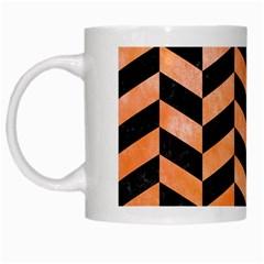 Chevron1 Black Marble & Orange Watercolor White Mugs by trendistuff