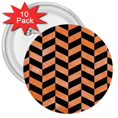 Chevron1 Black Marble & Orange Watercolor 3  Buttons (10 Pack)  by trendistuff