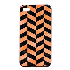 Chevron1 Black Marble & Orange Watercolor Apple Iphone 4/4s Seamless Case (black) by trendistuff