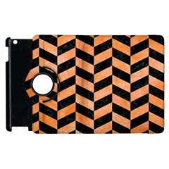 Chevron1 Black Marble & Orange Watercolor Apple Ipad 2 Flip 360 Case by trendistuff