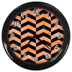 Chevron2 Black Marble & Orange Watercolor Wall Clocks (black) by trendistuff
