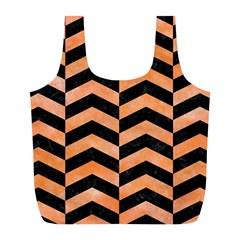 Chevron2 Black Marble & Orange Watercolor Full Print Recycle Bags (l)  by trendistuff
