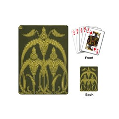 Green Floral Art Nouveau Playing Cards (mini)  by 8fugoso