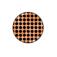Circles1 Black Marble & Orange Watercolor Hat Clip Ball Marker (10 Pack) by trendistuff