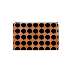 Circles1 Black Marble & Orange Watercolor Cosmetic Bag (small)  by trendistuff