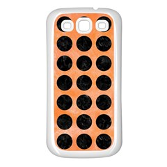 Circles1 Black Marble & Orange Watercolor Samsung Galaxy S3 Back Case (white) by trendistuff