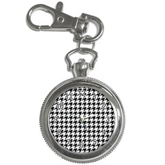 Classic Vintage Black And White Houndstooth Pattern Key Chain Watch by Beachlux