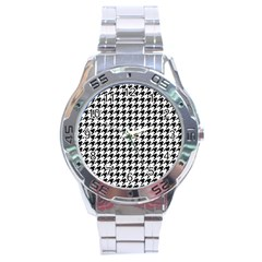 Classic Vintage Black And White Houndstooth Pattern Stainless Steel Analogue Watch by Beachlux