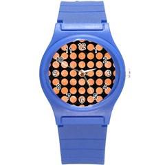 Circles1 Black Marble & Orange Watercolor (r) Round Plastic Sport Watch (s) by trendistuff