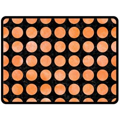 Circles1 Black Marble & Orange Watercolor (r) Double Sided Fleece Blanket (large)  by trendistuff