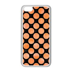 Circles2 Black Marble & Orange Watercolor (r) Apple Iphone 5c Seamless Case (white) by trendistuff