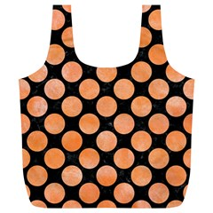 Circles2 Black Marble & Orange Watercolor (r) Full Print Recycle Bags (l)  by trendistuff