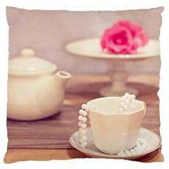 High Tea, Shabby Chic Large Flano Cushion Case (two Sides) by 8fugoso