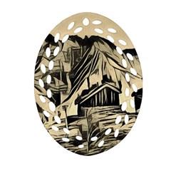 Ink Art Ornament (oval Filigree) by 8fugoso