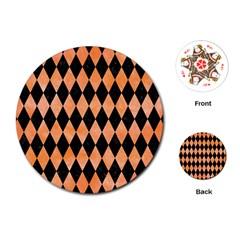 Diamond1 Black Marble & Orange Watercolor Playing Cards (round)  by trendistuff