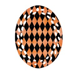 Diamond1 Black Marble & Orange Watercolor Oval Filigree Ornament (two Sides) by trendistuff