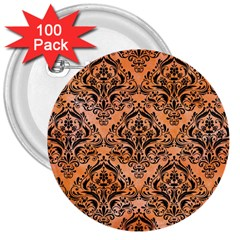 Damask1 Black Marble & Orange Watercolor 3  Buttons (100 Pack)  by trendistuff