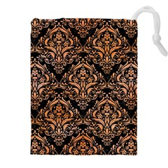 Damask1 Black Marble & Orange Watercolor (r) Drawstring Pouches (xxl) by trendistuff