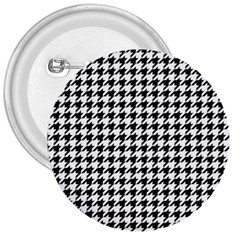 Classic Vintage Black And White Houndstooth Pattern 3  Button by Beachlux