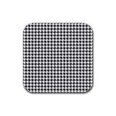 Classic Vintage Black And White Houndstooth Pattern Rubber Square Coaster (4 Pack) by Beachlux