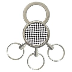 Classic Vintage Black And White Houndstooth Pattern 3 Ring Key Chain by Beachlux