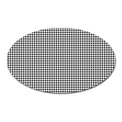 Classic Vintage Black And White Houndstooth Pattern Magnet (oval) by Beachlux